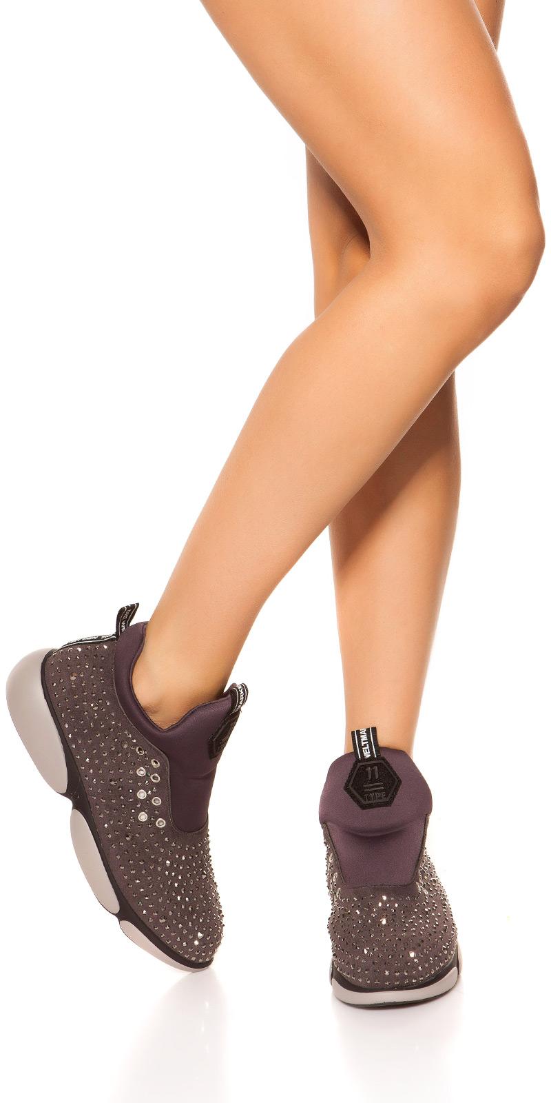 Sneakers la moda Slip On cu sclipici cu tinte