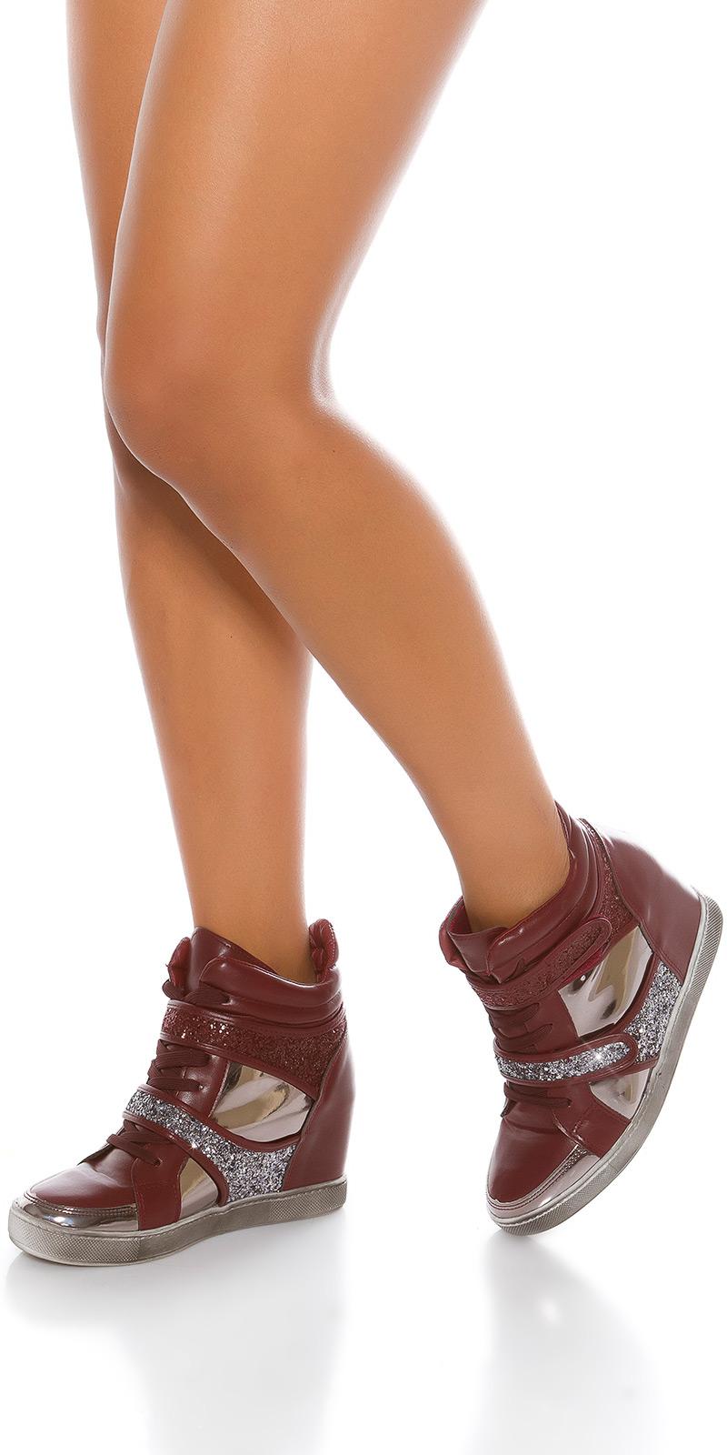 Sneakers la moda cu platforma cu sclipici
