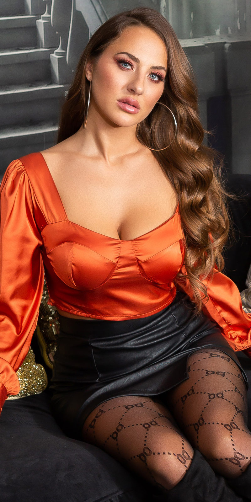 Topuri cu buricul gol sexy Satin-Look