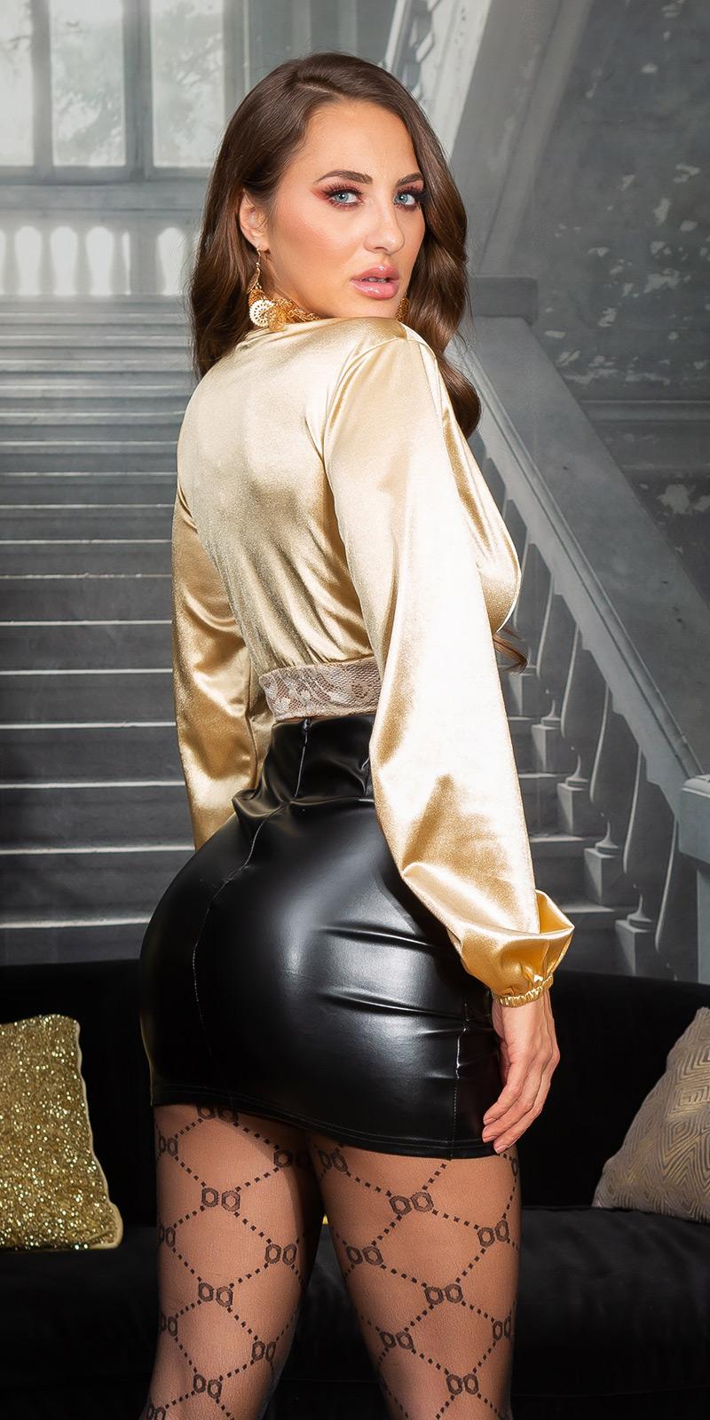 Topuri cu buricul gol sexy SatinLook cu dantela Detail