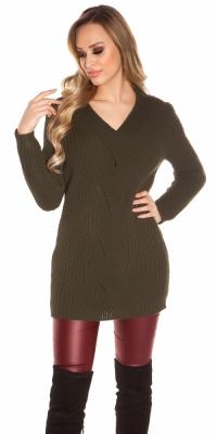 Bluza la moda Long- cu tricot braid