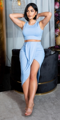 Bluze lungi Sexy Set cu Twist Detail + Croped Top