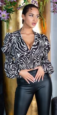 Bluze Sexy maneca lunga model scurt cu incretituriWaist