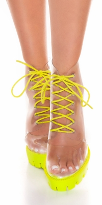 Botine la moda transparent block heel dantela-up