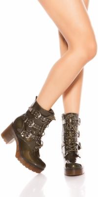 Cizme la moda block heel cu buckles si cu tinte