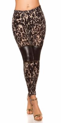 Colanti Sexy model leopard cu insertii piele ecologica si fermoar