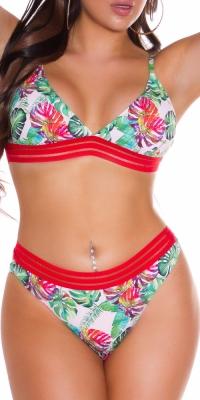 Costum de baie in doua piese Sexy Exotic cu decorative elastic Stripe
