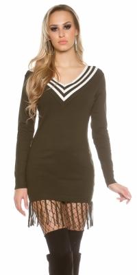la moda cu decolteu in v tricot derss cu fringe