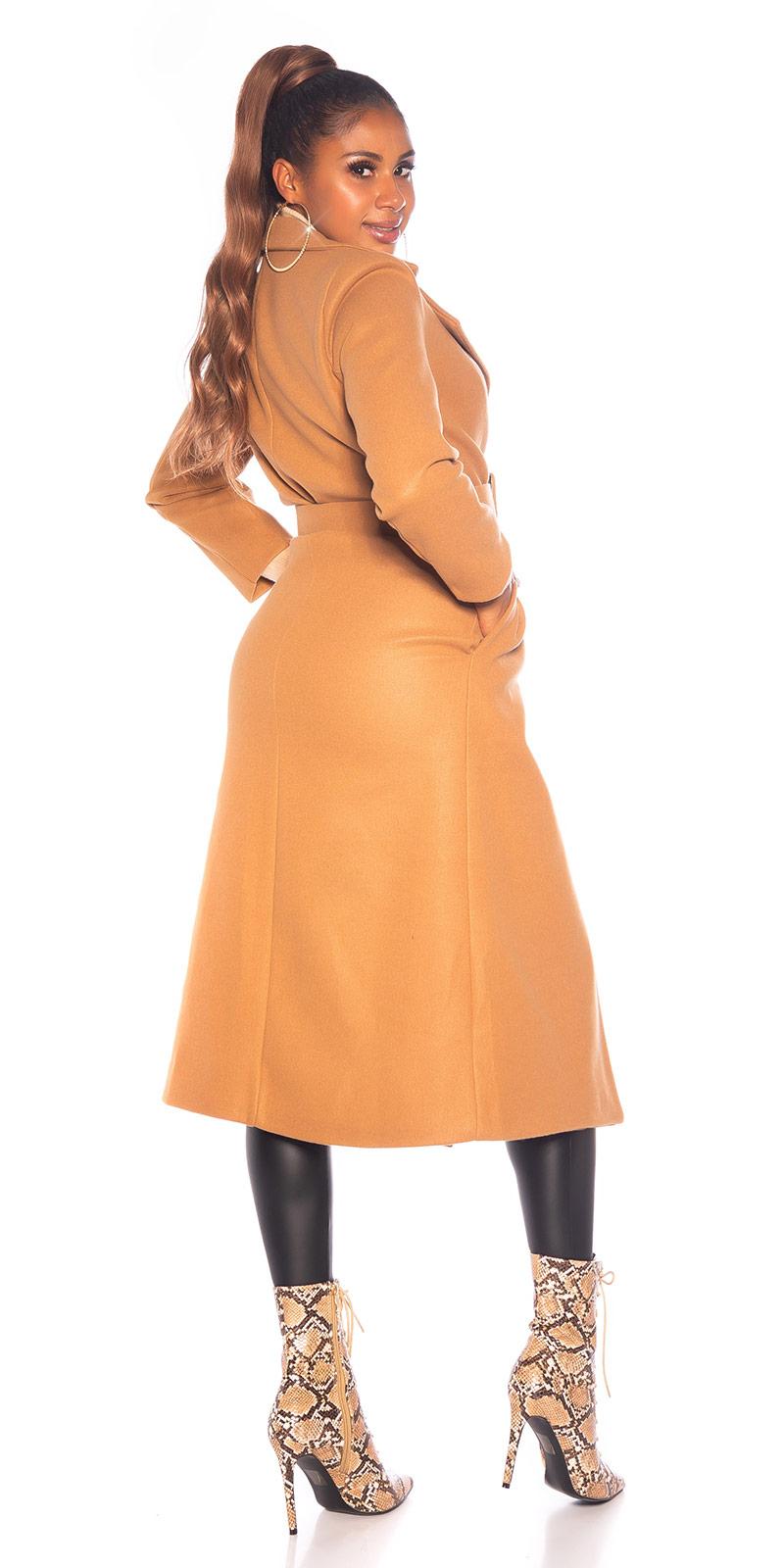 la moda Long Coat cu curea