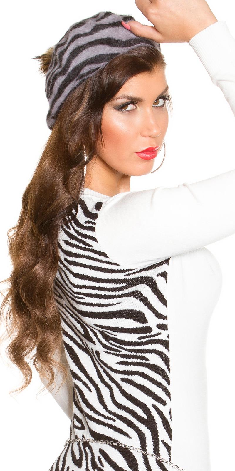 la moda Zebra Basque cap cu ciucuras