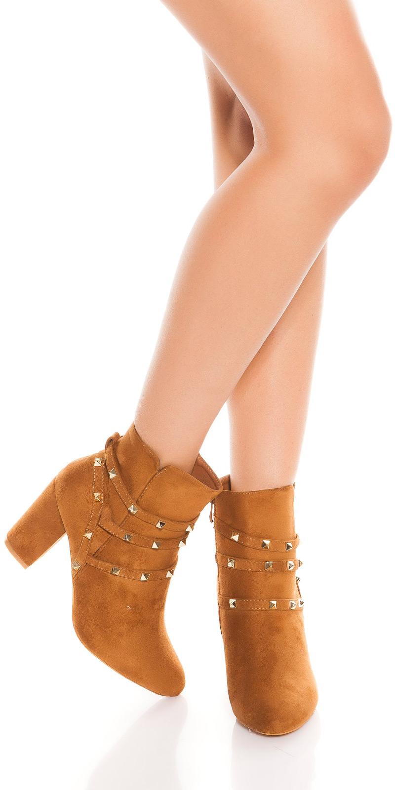la moda ankle boot block heel cu tinte