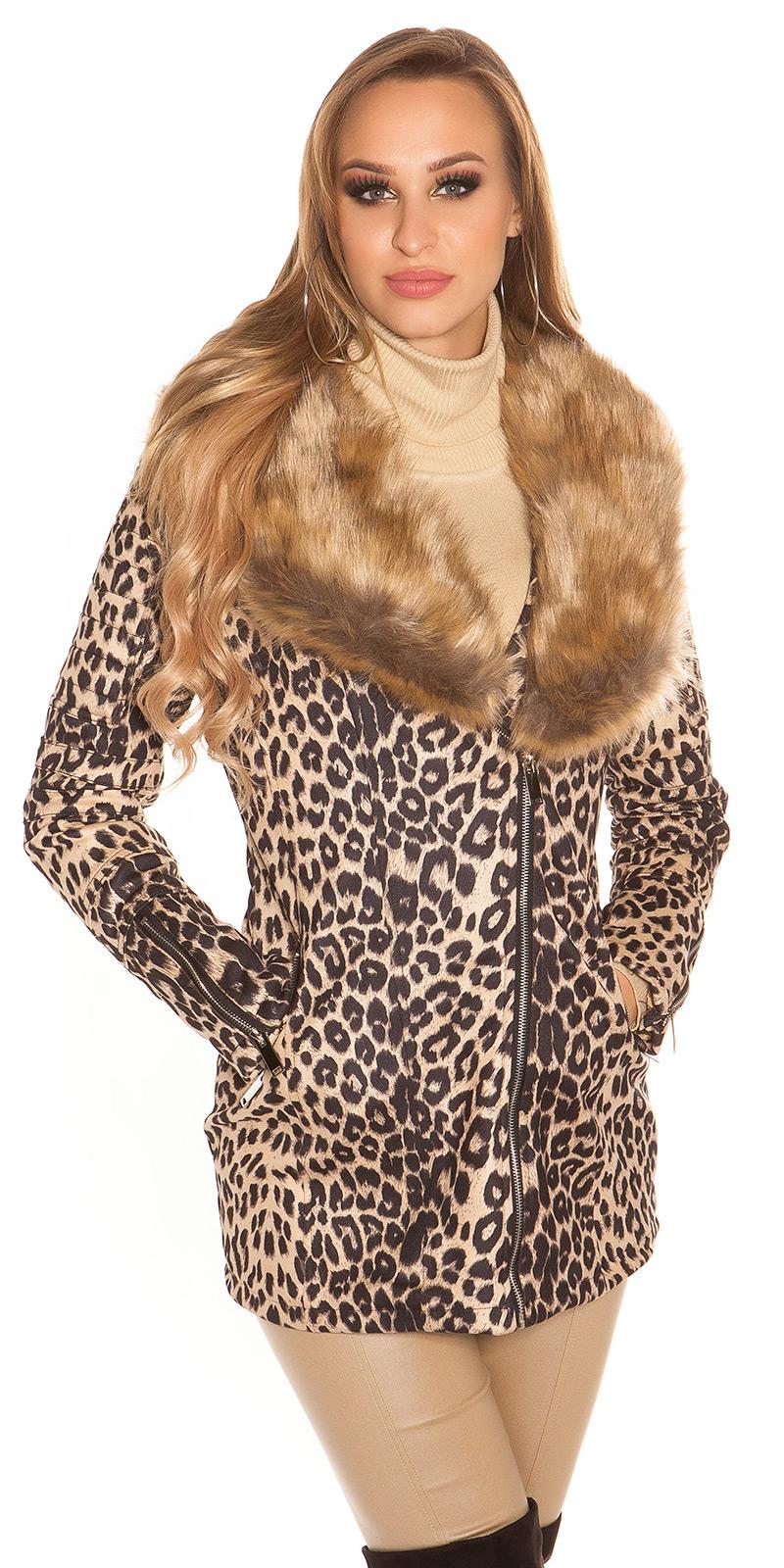 la moda coat Animal imprimeu si blana artificiala