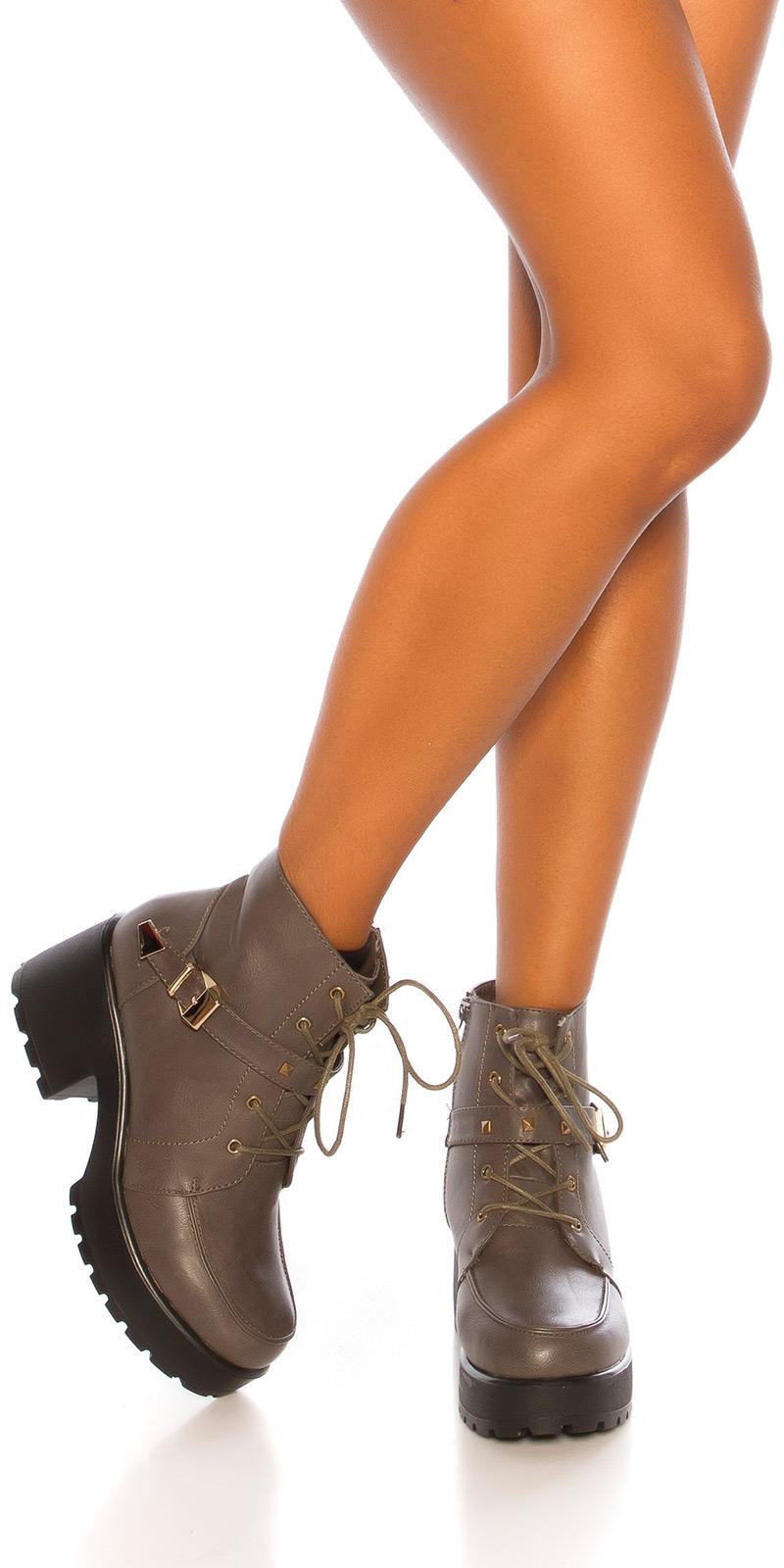 la moda plateau ankle boot cu catarama