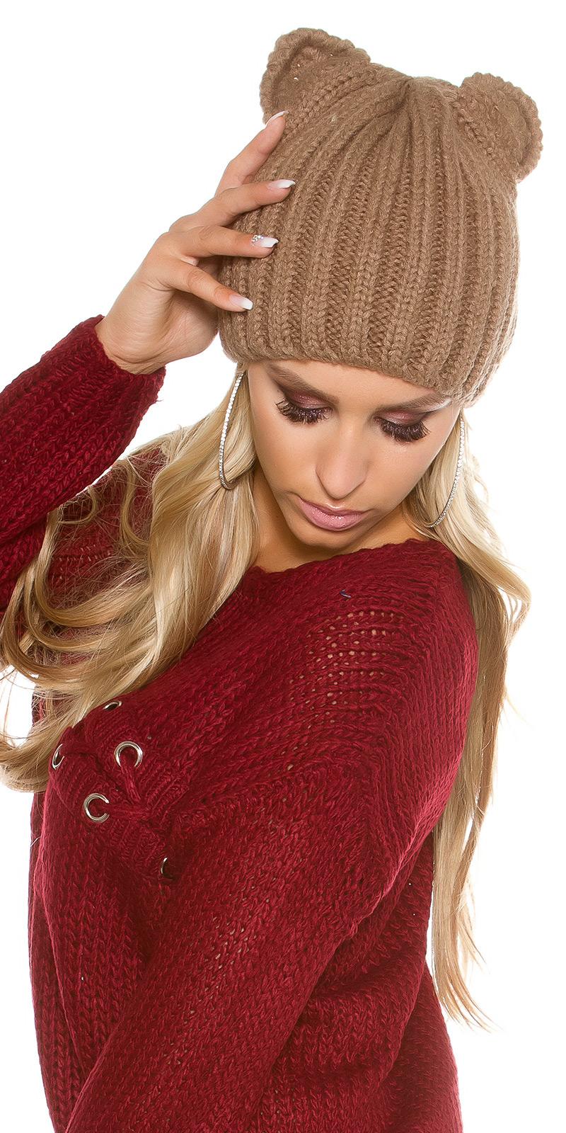 la moda tricotted cap cu urechi