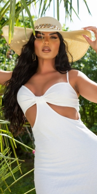 Palarie Sexy Elegant Wide Brim Sun cu lanturi
