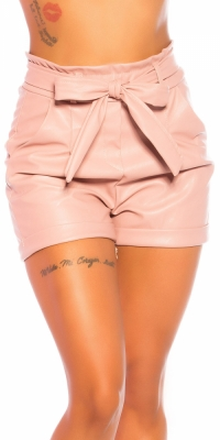 Pantaloni scurti Sexy Paperbag Lederlook-