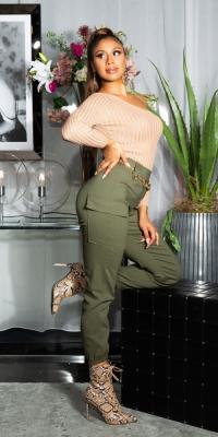 Pantaloni Sexy Cargo cu Elastic talie