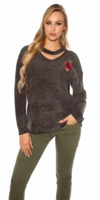 Pulover la moda tricot cu floral embroidery
