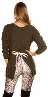 Pulover la moda tricot cu fundita on the back