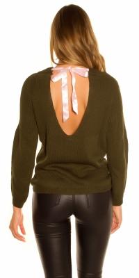 Pulover la moda tricot cu spate sexy