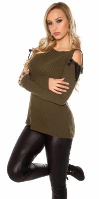 Pulover la moda umerii goi model gros tricot mohair