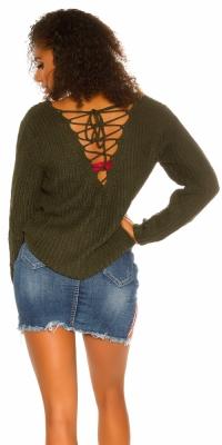 Pulover sexy XL cu decolteu in v tricot cu siret
