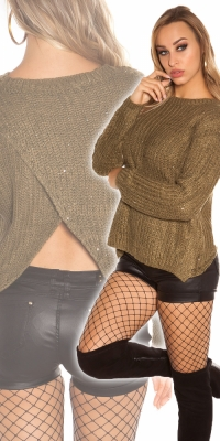 Pulovere la moda cu sclipici cu spate sexy