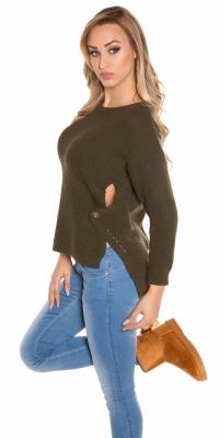 Pulovere la moda-High/Low- cu round-neck