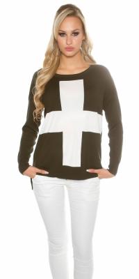 Pulovere la moda supradimensionat cu cruce