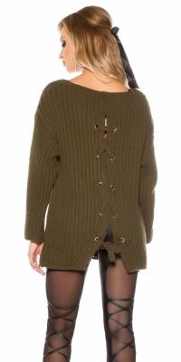 Pulovere la moda XXL loose tricot w. siret la spate