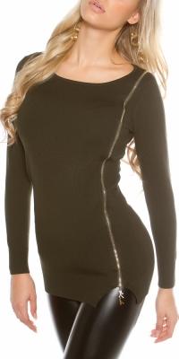 Pulovere sexy din tricot cu fermoar