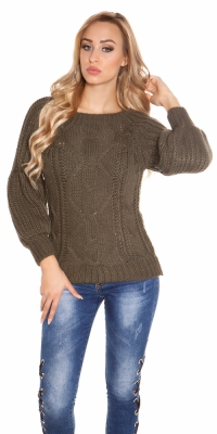 Pulovere sexy roughknit bellsleeves&roundneck