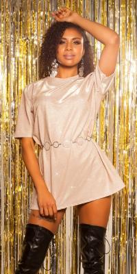 Rochie tip camasa la moda LeT s de petrecere cu sclipici