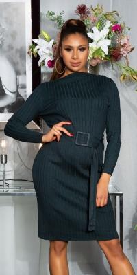 Rochii Charming cu striatii tricot cu curea