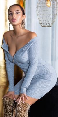 Rochii Sexy Bateau tricot cu fermoar