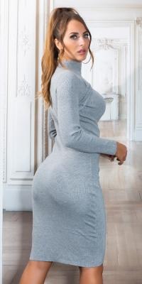 Rochii Sexy Midi tricot cu Cut-out