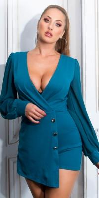 Salopete de club dama Sexy model petrecut-around look cu bufante maneci