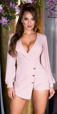 Salopete de club dama Sexy model petrecut-around look cu puffed maneci