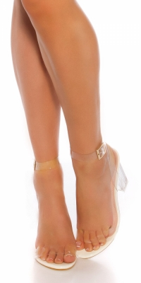 Sandale Sexy cu toc transparent / block heel