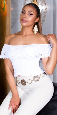 Sexy Carmen decolteu Embroidered Top cu Frill