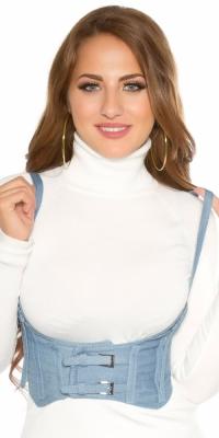 Sexy denim waist / bodice curea cu bretele