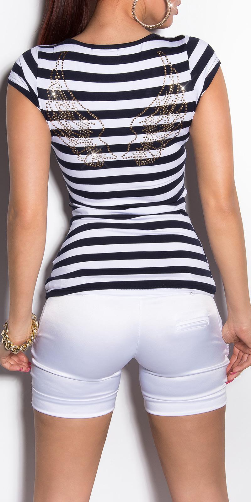 Tricouri dama sexycu dungi cu nasturi