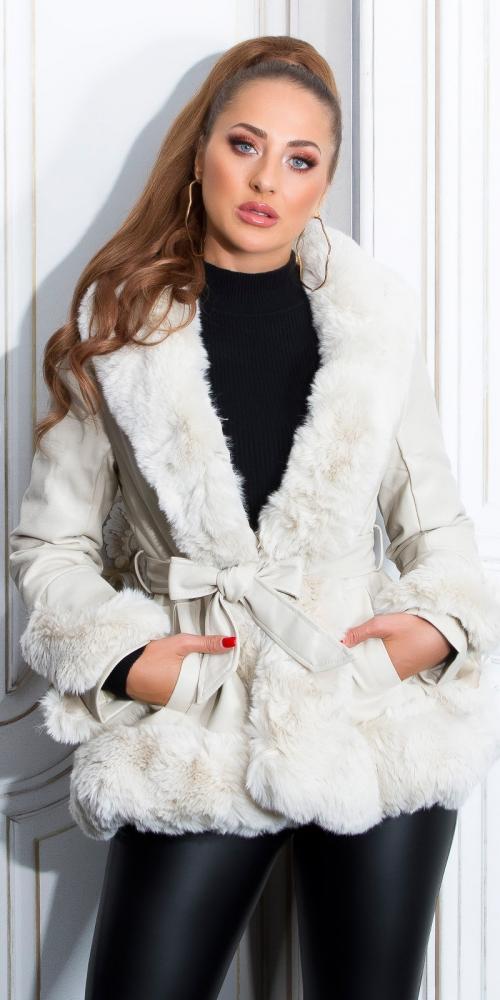 Jachete dama Sexy Luxury piele ecologica & blanita Winter