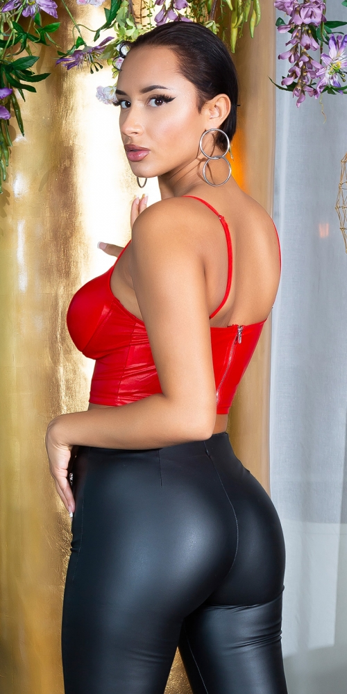 Top deasupra buricului sexy aspect lucios Bustier /