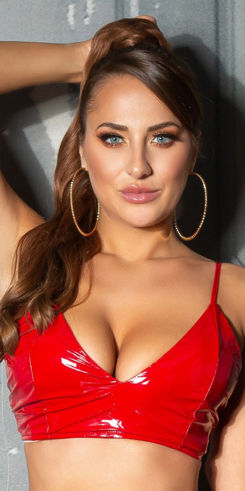 Topuri cu buricul gol sexy Latex-Look /Bustier